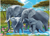 Bild 3D Elefantfamilj