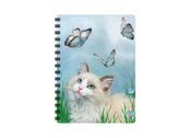 Anteckningsbok 3D Katt & Blå Fjärilar liten