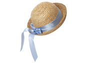 Straw hat round 'Lisabet' light blue